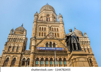 Municipal Corporation Building (BMC) with statue of Phiroz Shah Mehta. Built in 1893, Unesco heritage, British architecture and historical building in Maharashtra, Mumbai.