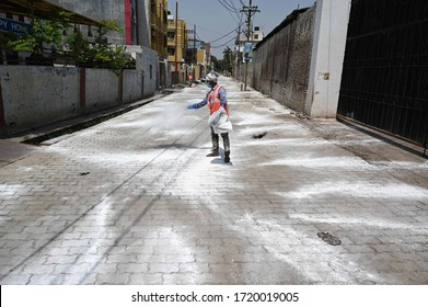 A Municipal corporation worker disinfecting hotspot area during a government-imposed nationwide lockdown as a preventive measure against the COVID-19 coronavirus, in Prayagraj on May 02, 2020.