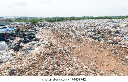 Municipal landfill for household waste, polution problem, selective focus