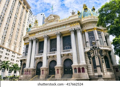 The Municipal Theatre, built in an Art Nouveau style inspired by the Paris Opera, was completed in 1909 in downtown Rio de Janeiro, Brazil