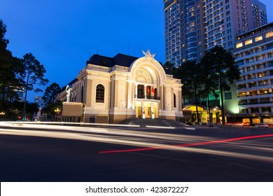 Municipal Theatre of Ho Chi Minh City also known as the Siagon Operahouse at night with traffic light trails. Built in 1897 is an fine example French Colonial Architecture. Ho Chi Minh City - Vietnam