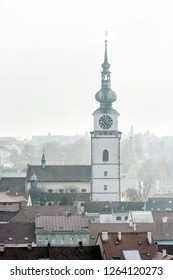 Municipal tower in Trebic, Czech republic. Travel destination. Architectural theme.