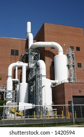 Municipal water treatment plant on a sunny morning