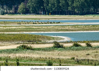 Municipality of Sluis, the Netherlands, July 2, 2018: newly developed tidal nature in combination with recreation and coastal defense at Waterdunen project