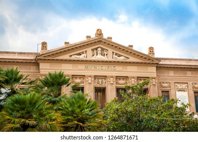"""""""Municipio di Messina"""" - City or town hall of Messina (Sicily, Italy) in the downtown."""