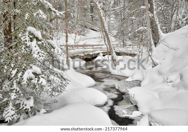 Munising Creek in winter Michigan's Upper Peninsula