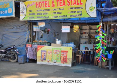 Munnar, India - February 24, 2018: A food stall selling tea and other snacks.