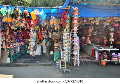 Munnar, India - February 24, 2018: Stationery shops selling  various decorative items.