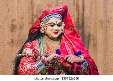 Munnar, Kerala, India - 07 Feb 2018: Kathakali dance performance in Kerala