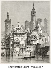 Munoth castle view from Schaffhouse, northern Switzerland. Created by Stroobant, published on Le Tour Du Monde, Paris, 1867