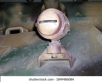 Munster, Germany - Dec.01.2005: The head light of Panther tank in German Tank Museum (Deutsches Panzermuseum Munster)