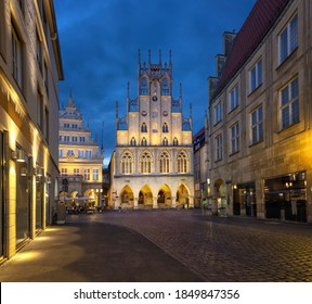 Munster, Germany. Historical City Hall at dusk - Shutterstock ID 1849847356