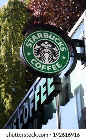 MUNSTER, GERMANY - MAY 3: Starbucks Coffee coffeehouse in the city of Munster. May 3, 2014 in Munster, North Rhine-Westphalia, Germany