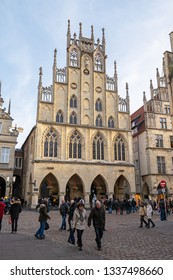 MUNSTER, NORTH RHINE-WESTPHALIA / GERMANY - DECEMBER 16, 2018: Front facade of the Historical City Hall