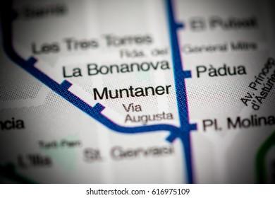 Muntaner Station. Barcelona Metro map.