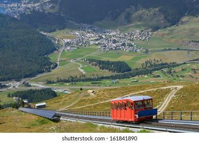 Muottas Muragl funicular in the Engadine