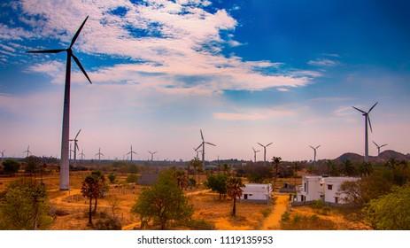 Muppandal Wind Farm, India's largest operational onshore wind farm at Aralvaimozhi in Kanyakumari