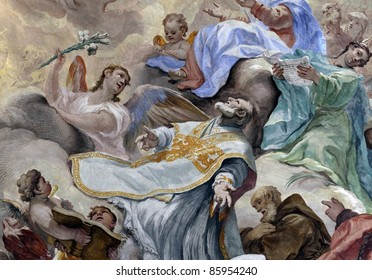 mural in a church of florence, italy