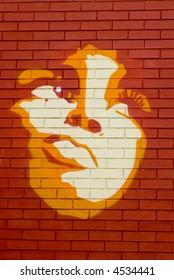Mural: Face of a beautiful woman looking upwards