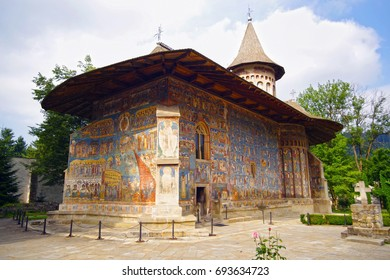 Mural frescoes on exterior walls of Voronet Monastery Church, known as The Sistine Chapel of the East (Unesco Heritage Site)