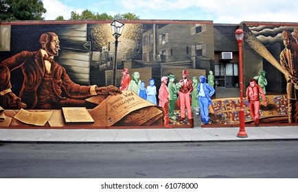 Mural painted on a wall on South Street in Philadelphia
