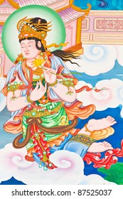 Mural painting, traditional Chinese temple in Thailand.