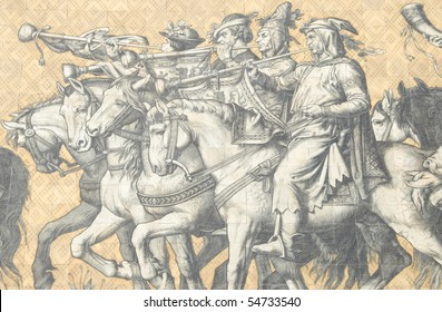 mural of princes riding on a hunting party