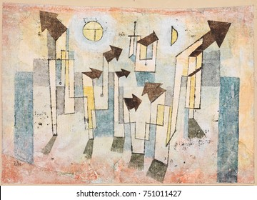 MURAL FROM THE TEMPLE OF LONGING THITHER, by Paul Klee, 1922, Swiss painting, watercolor and ink. Illusionistic geometric abstraction is sweetly colored with primary and secondary colors