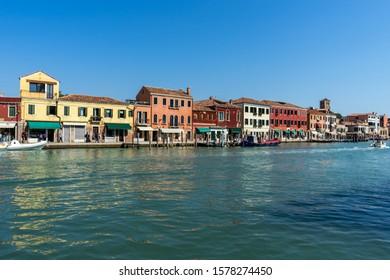 Murano island cityscape in Venice lagoon, Italy.
