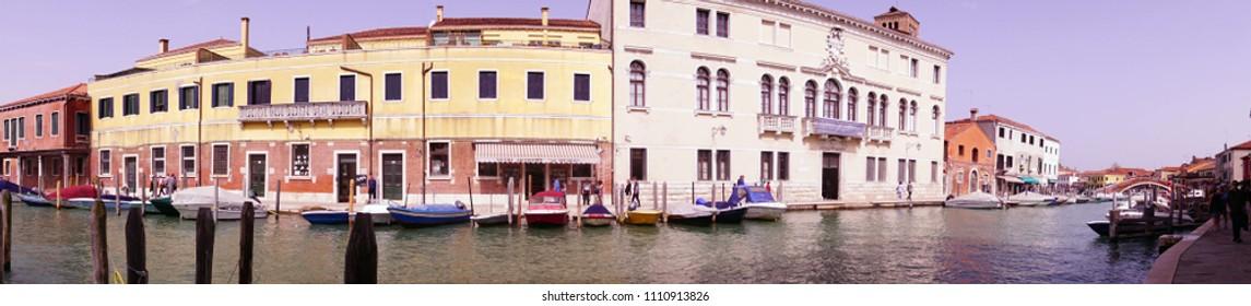 MURANO, ITALY - APR 16, 2018 - Panorama of glass making town of Murano Venice, Italy
