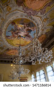 Murano, Italy - July 19th 2019: The stunning ceiling in one of the rooms in the Murano Glass Museum, also known as Museo del Vetro, on the Venetian island of Murano in Italy.