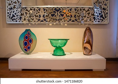 Murano, Italy - July 19th 2019: Stunning examples of Murano Glass in the Murano Glass Museum, also known as Museo del Vetro, on the Venetian island of Murano in Italy.