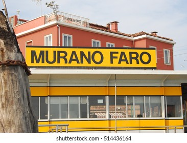 Murano,Italy-March 17,2012: Sign at a vaporetto stop on the Island of Murano in Italy