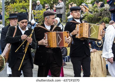 MURAVERA, ITALY - APRIL 2, 2017: 45 Citrus Festival - group of musicians joining traditional Sardinian costume - Sardinia