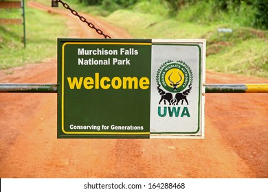 MURCHISON FALLS, UGANDA - SEPTEMBER 30, 2012.  A close up look at the entrance gate and welcome sign to Murchison Falls National Park , Uganda on SEPTEMBER 30, 2012.