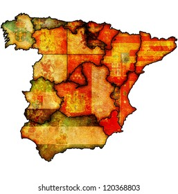 murcia region on administration map of regions of spain with flags and emblems