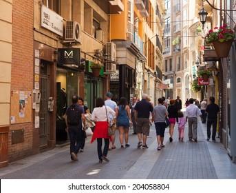 MURCIA, SPAIN - APRIL 15, 2014: Street in old district. Murcia, Spain