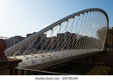 MURCIA, SPAIN - APRIL 16, 2014: Puente del Hospital over Segura. Murcia, Spain