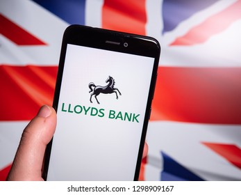 Murcia, Spain; Jan 28, 2019: Lloyds Bank logo in phone with Union Jack flag on background. Lloyds Bank plc is a British retail and commercial bank