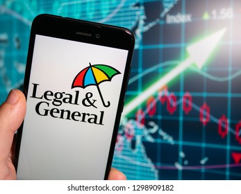 Murcia, Spain; Jan 28, 2019: Legal & General logo in phone with earnings graphic on background. Legal & General is a British multinational financial services company
