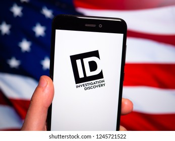Murcia, Spain; Nov 27, 2018: Investigation Discovery logo in phone with United States flag on background. Investigation Discovery (often abbreviated ID) is an American television network