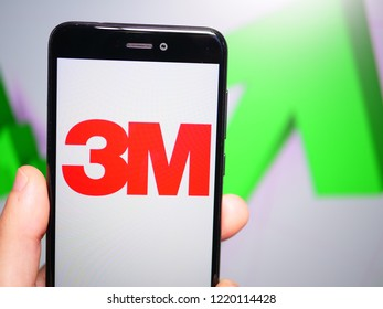 Murcia, Spain; Nov 3, 2018: 3M Company logo in phone with rises graphic on background. First person view