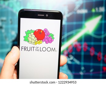 Murcia, Spain; Nov 6, 2018: Fruit of the Loom logo in phone with rises graphic on background. Fruit of the Loom is an American company that manufactures clothing, particularly underwear