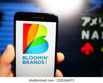 Murcia, Spain; Nov 7, 2018: Bloomin' Brands logo in phone with stock echange screen on background. First person view