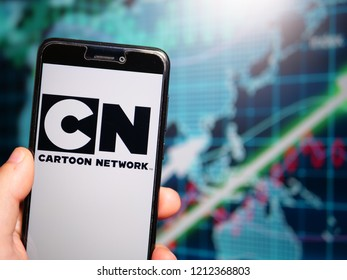 Murcia, Spain; Oct 23, 2018: Cartoon Network logo in phone with earnings graphic on background. Cartoon Network is an American pay television channel