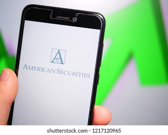 Murcia, Spain; Oct 30, 2018: American Securities LLC logo in phone with rises graphic on background. First person view