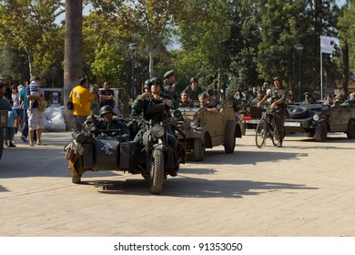 MURCIA, SPAIN - OCTOBER 15:  German soldiers on a military parade. Historical military reenacting on October 15, 2011 in Murcia, Spain.