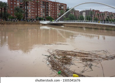 Murcia, Spain. September 13-2019: Segura river as it passes through the city of Murcia during floods due to the atmospheric phenomenon DANA (cold drop).