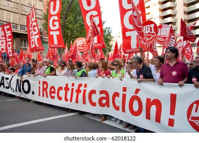 MURCIA, SPAIN - SEPTEMBER 29: People in the streets in a general strike against the crisis in Spain, 29th September 2010, Murcia, Spain.