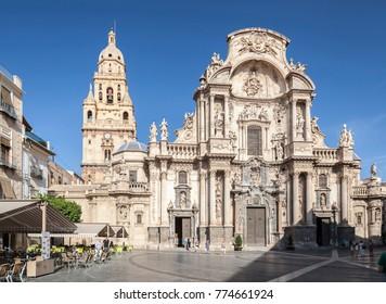 MURCIA,SPAIN-SEPTEMBER 21,2017:Cathedral Church of Saint Mary in Murcia,Spain.